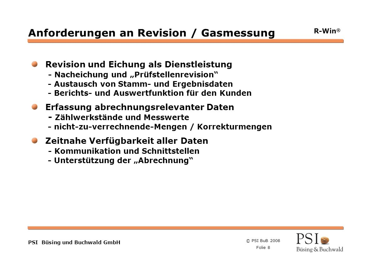 Anforderungen an Revision / Gasmessung