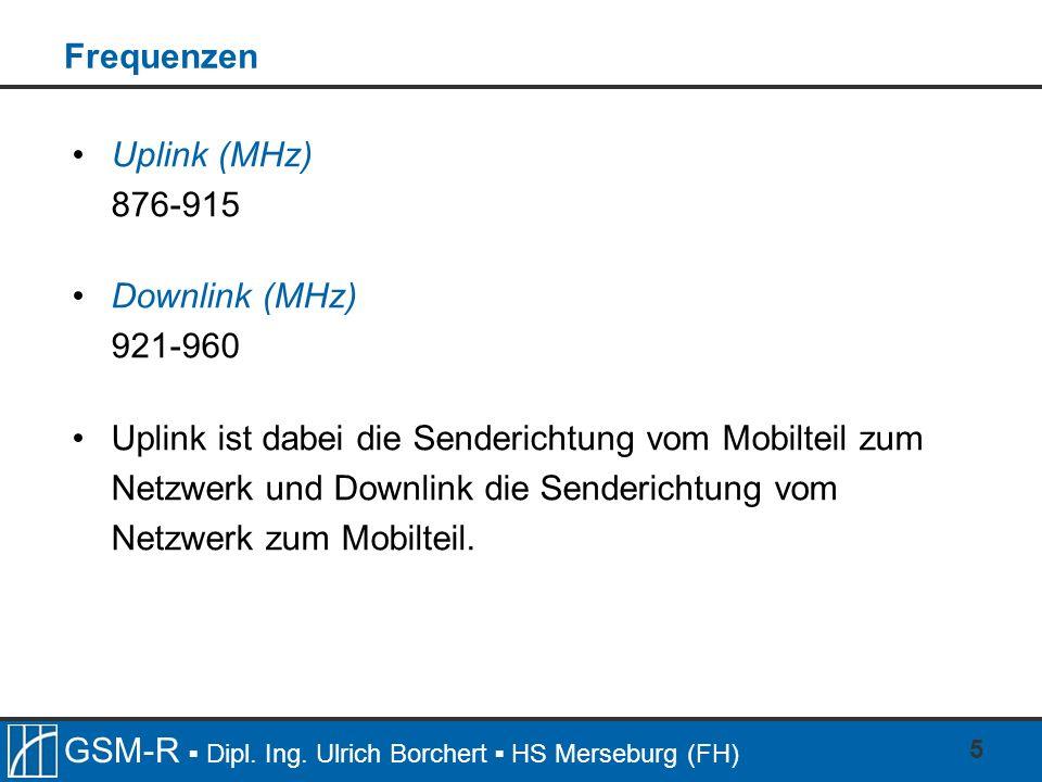 Frequenzen Uplink (MHz) 876-915. Downlink (MHz) 921-960.