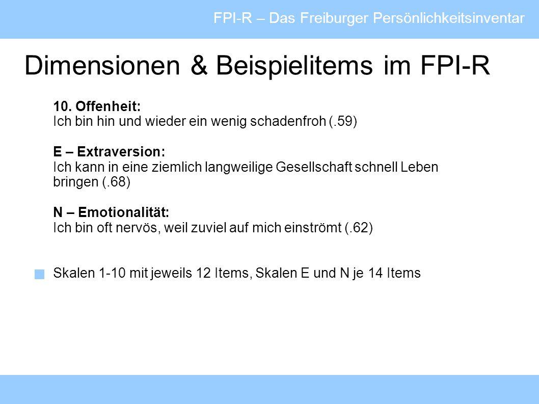 Dimensionen & Beispielitems im FPI-R