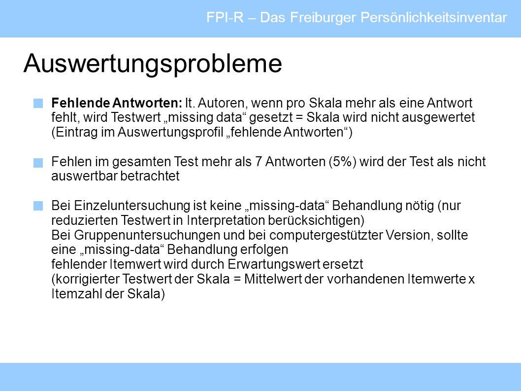 Auswertungsprobleme FPI-R – Das Freiburger Persönlichkeitsinventar