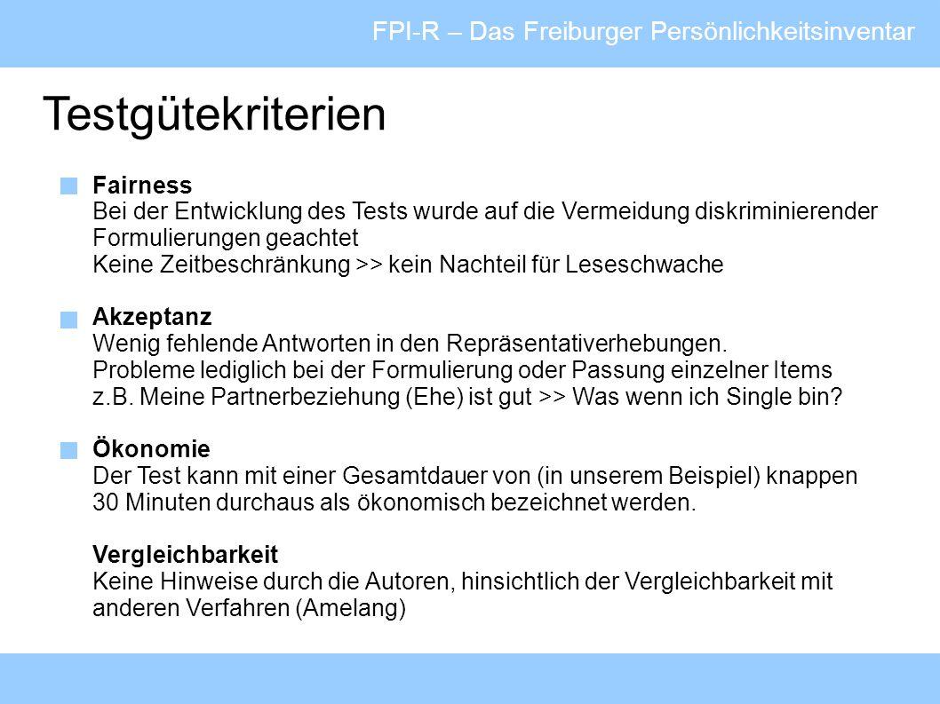 Testgütekriterien FPI-R – Das Freiburger Persönlichkeitsinventar