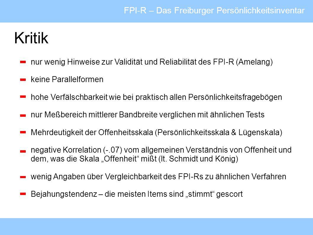 Kritik FPI-R – Das Freiburger Persönlichkeitsinventar