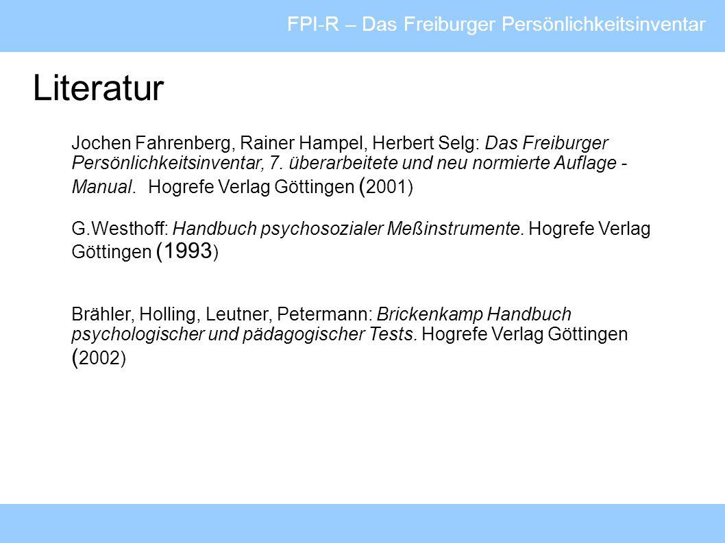 Literatur FPI-R – Das Freiburger Persönlichkeitsinventar
