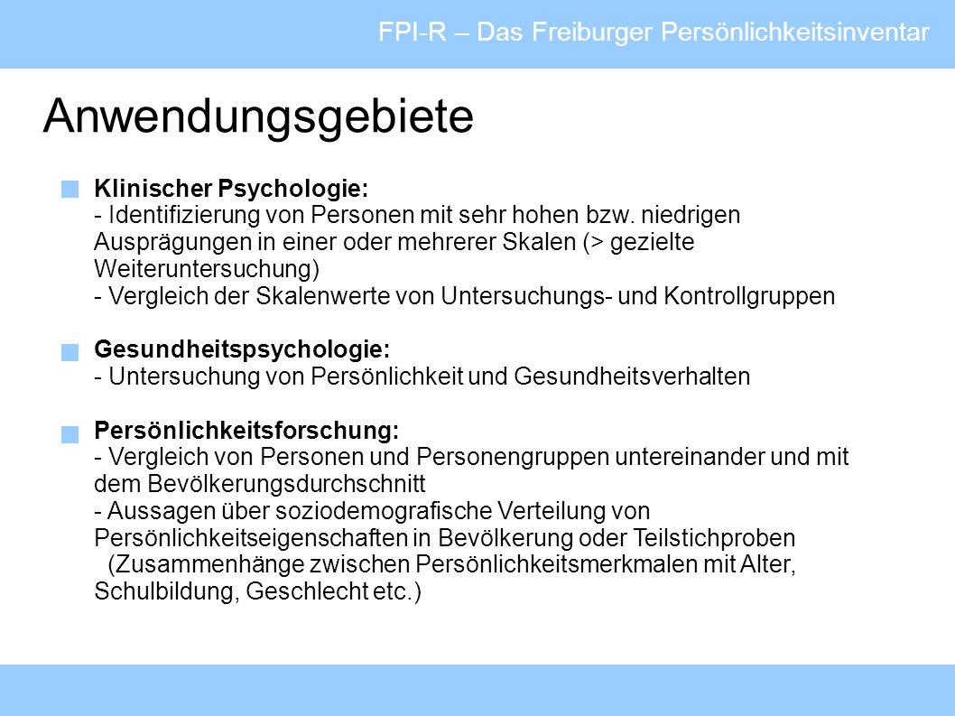 Anwendungsgebiete FPI-R – Das Freiburger Persönlichkeitsinventar