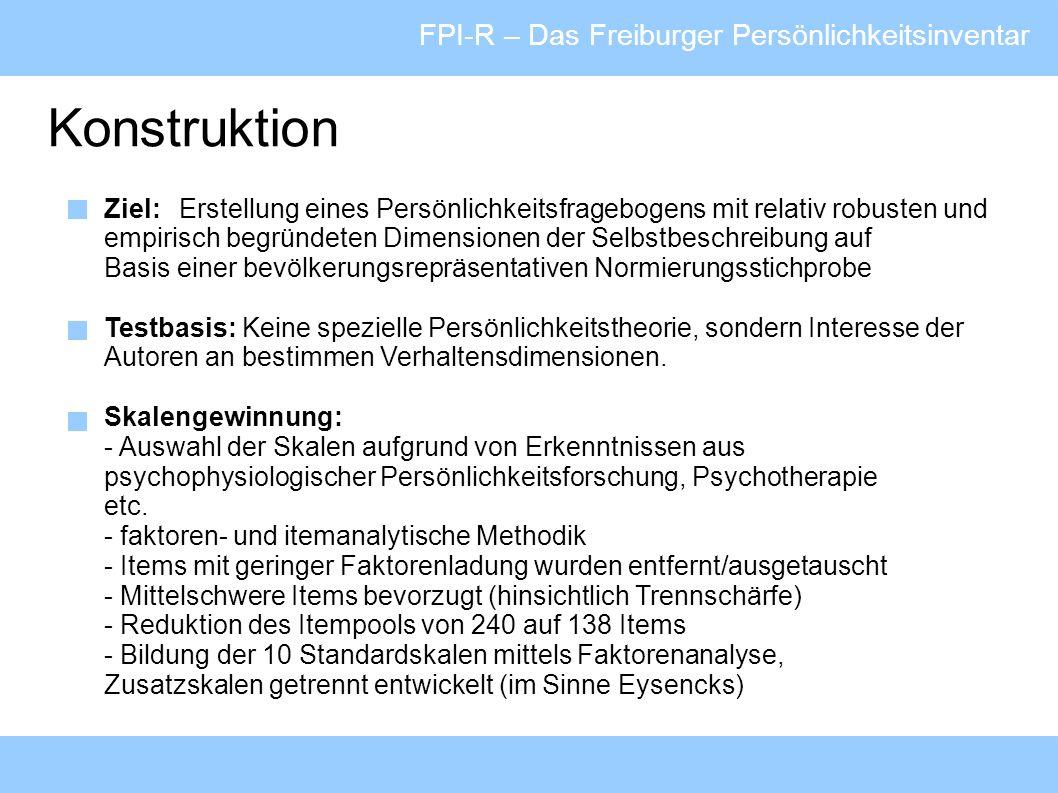 Konstruktion FPI-R – Das Freiburger Persönlichkeitsinventar