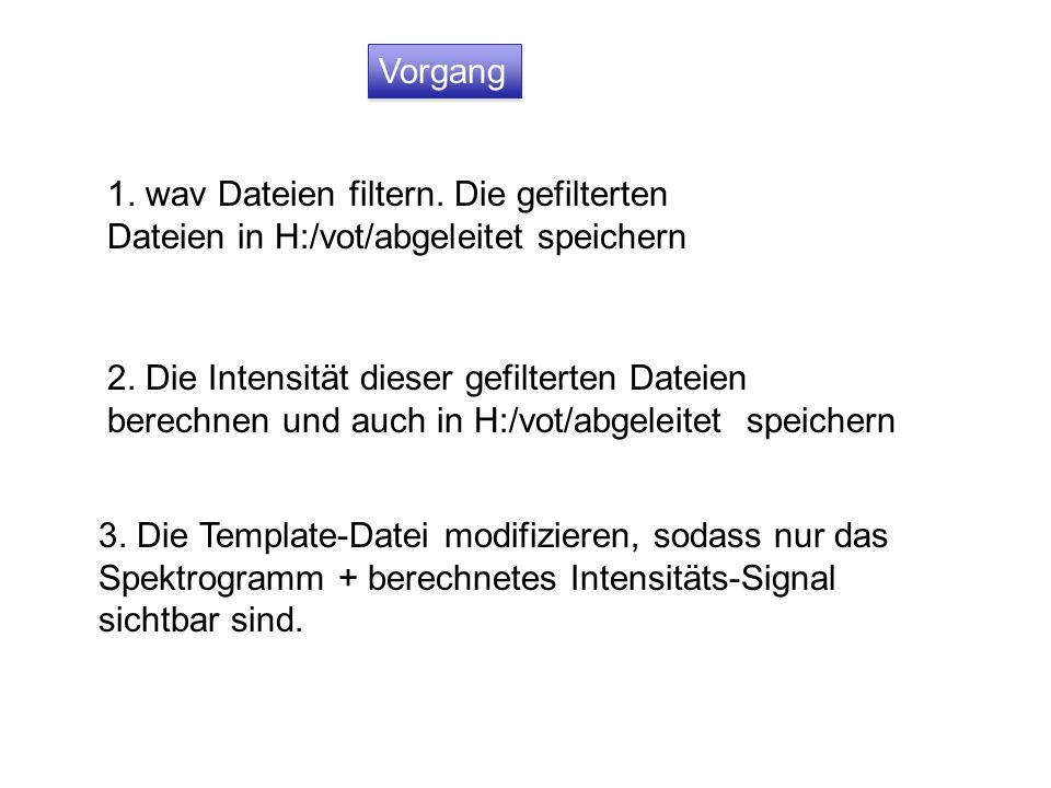 Vorgang 1. wav Dateien filtern. Die gefilterten Dateien in H:/vot/abgeleitet speichern.