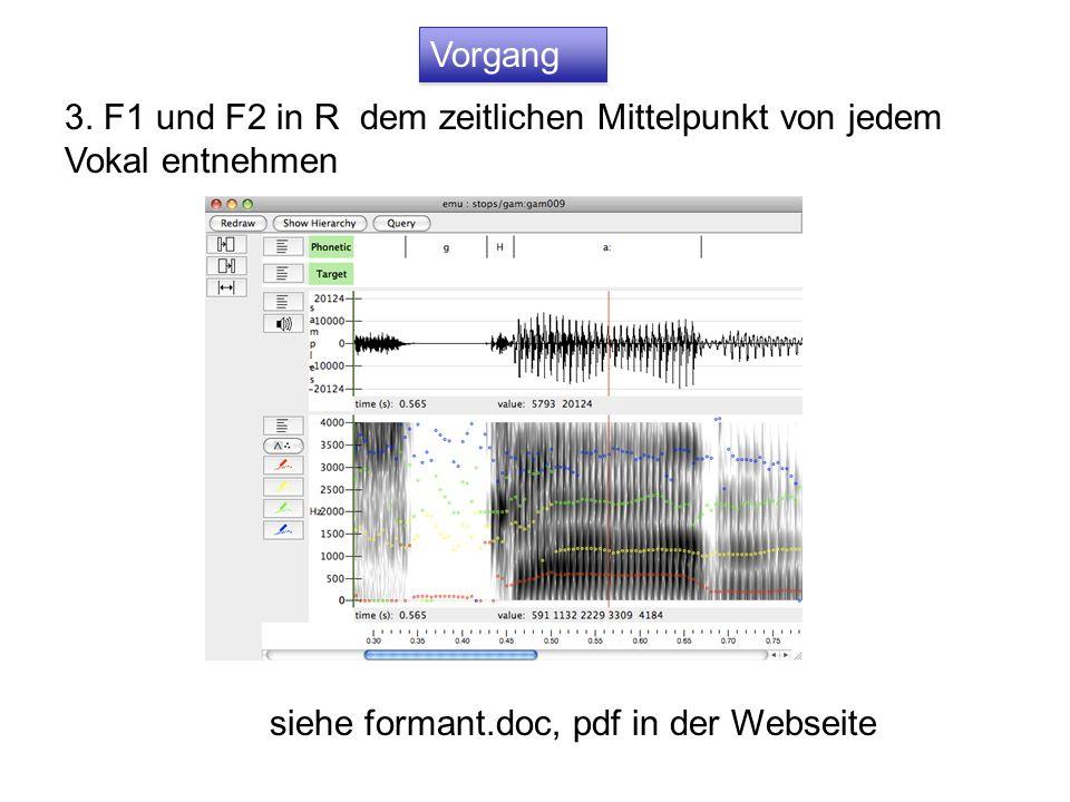 Vorgang 3. F1 und F2 in R dem zeitlichen Mittelpunkt von jedem Vokal entnehmen.
