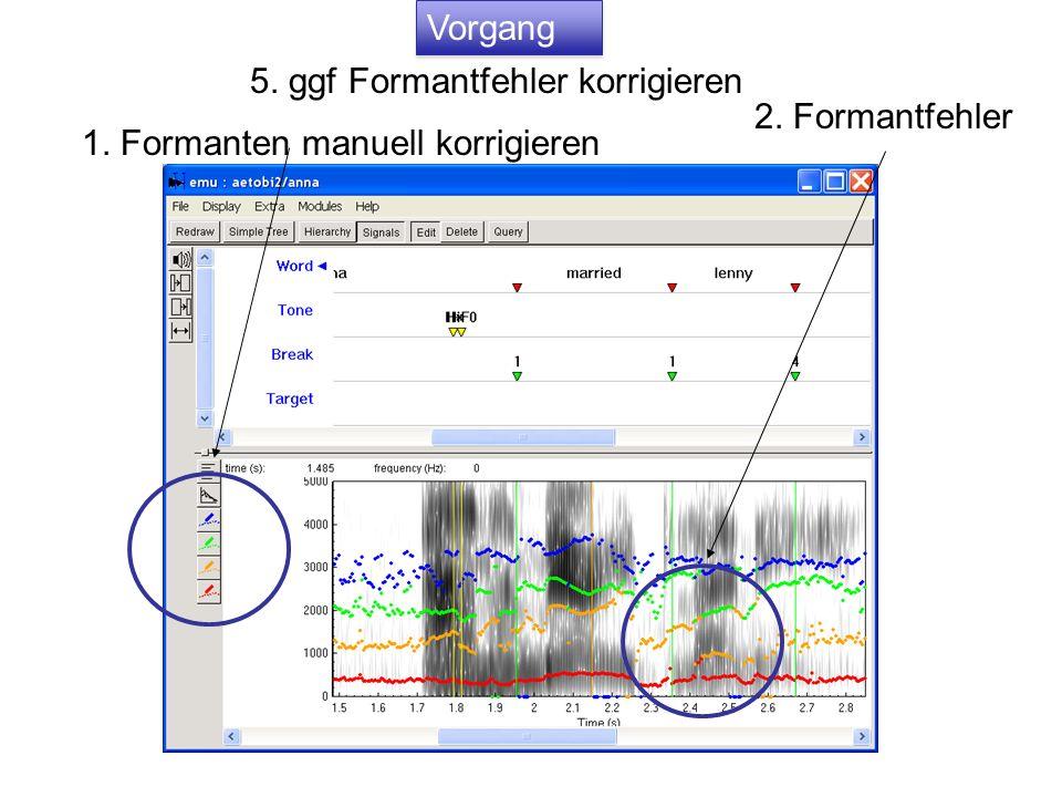 Vorgang 5. ggf Formantfehler korrigieren 2. Formantfehler 1. Formanten manuell korrigieren