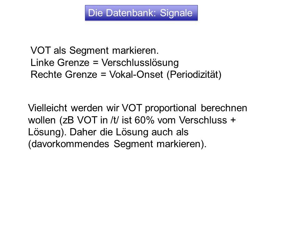 Die Datenbank: Signale