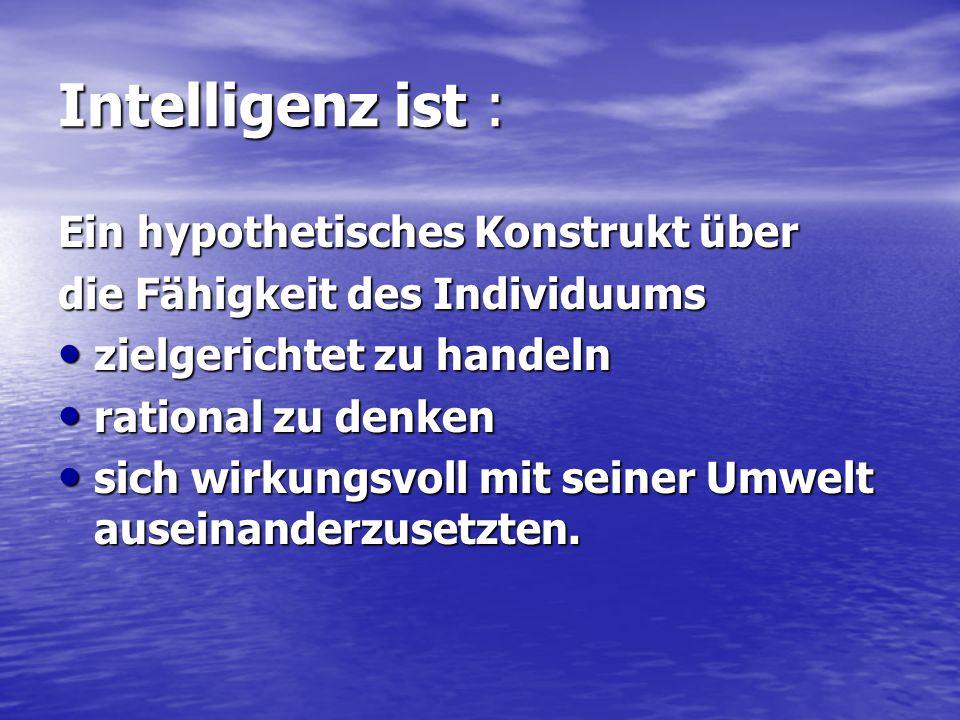 Intelligenz ist : Ein hypothetisches Konstrukt über