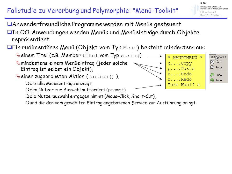 Fallstudie zu Vererbung und Polymorphie: Menü-Toolkit