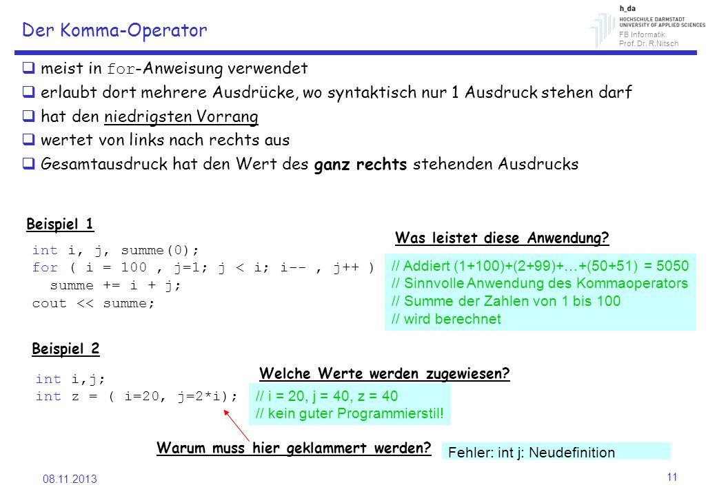 Der Komma-Operator meist in for-Anweisung verwendet