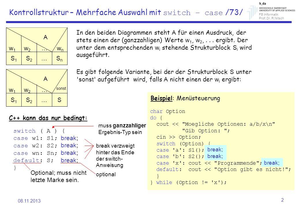 Kontrollstruktur – Mehrfache Auswahl mit switch – case /73/
