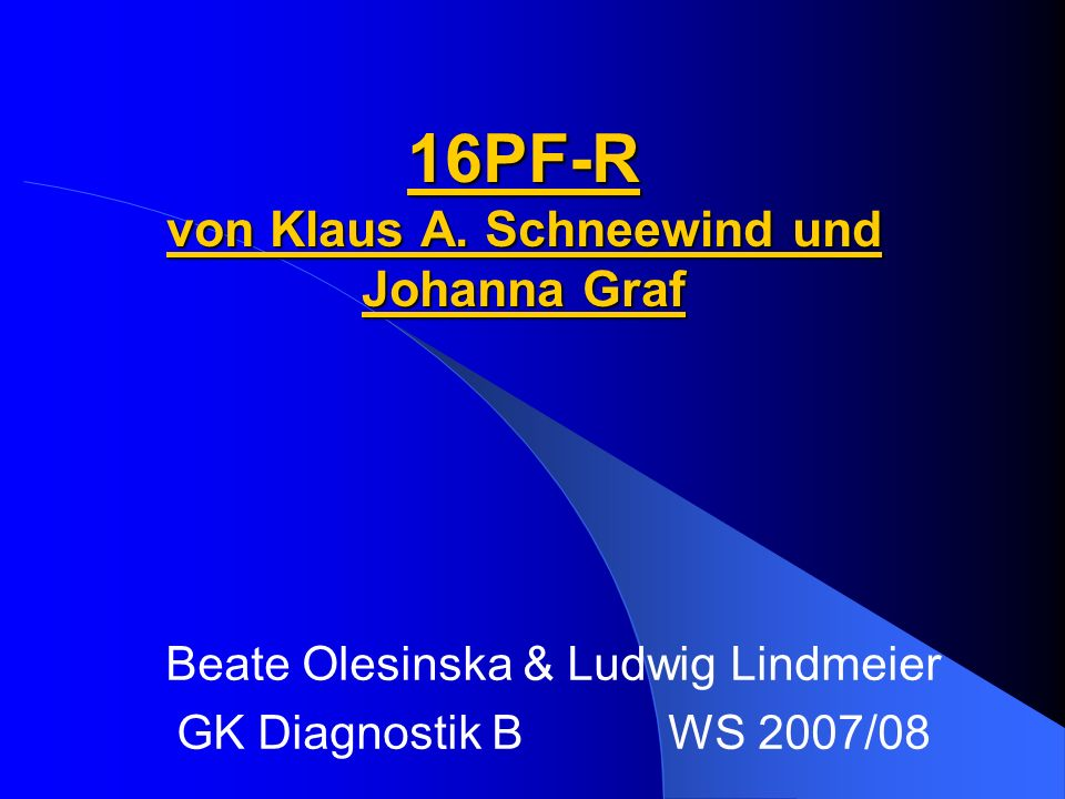 16PF-R von Klaus A. Schneewind und Johanna Graf
