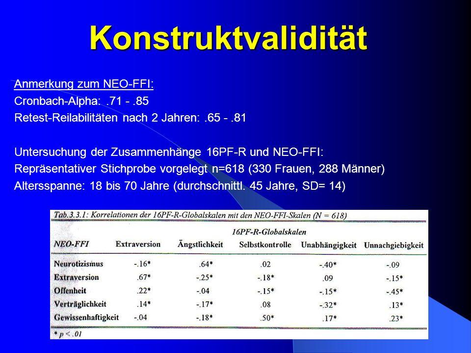 Konstruktvalidität Tabelle S21 einscannen Anmerkung zum NEO-FFI: