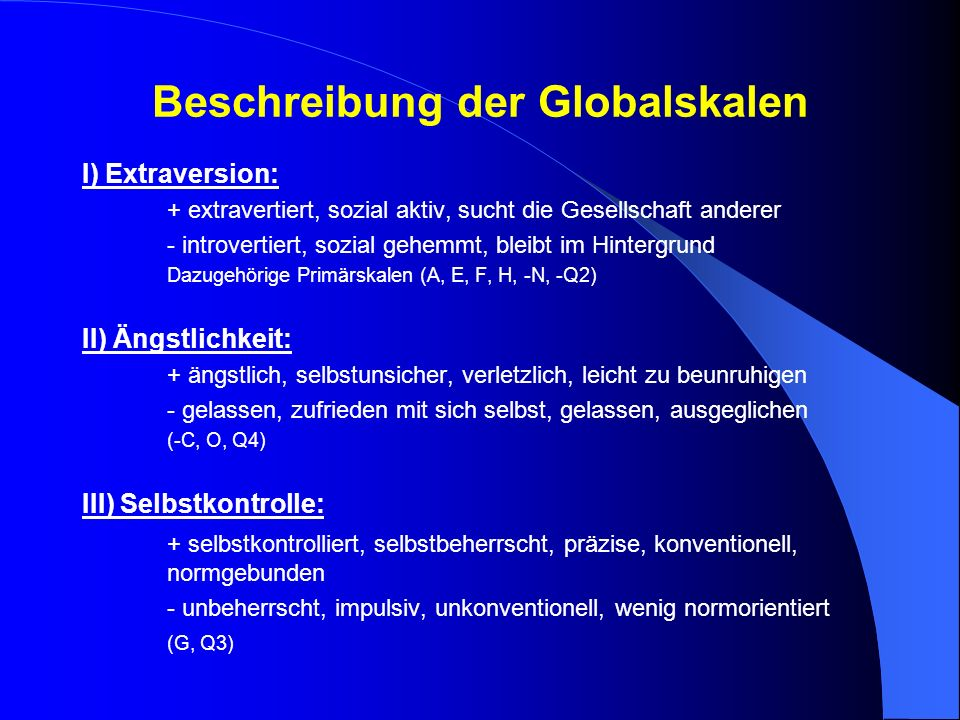 Beschreibung der Globalskalen