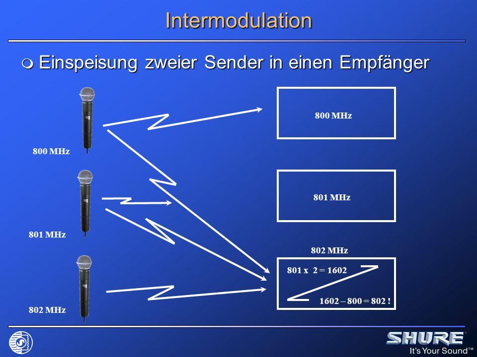 Intermodulation Einspeisung zweier Sender in einen Empfänger 800 MHz