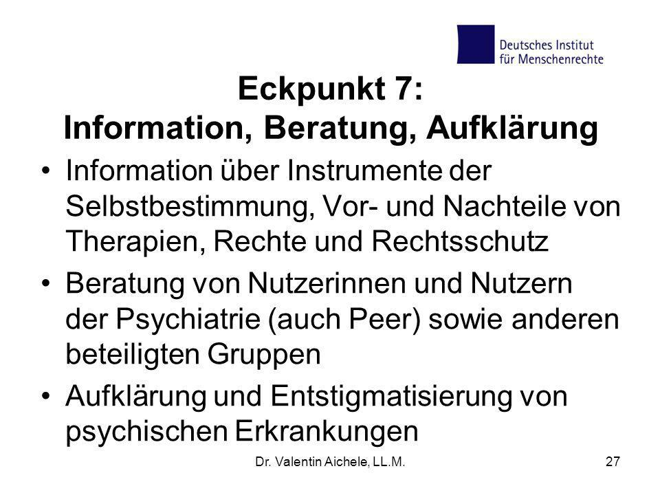 Eckpunkt 7: Information, Beratung, Aufklärung