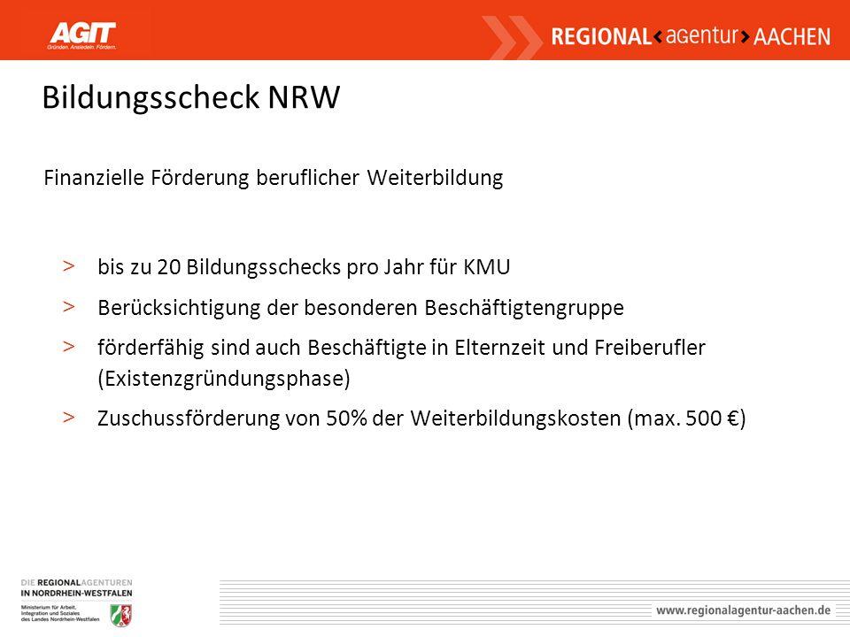 Bildungsscheck NRW Finanzielle Förderung beruflicher Weiterbildung