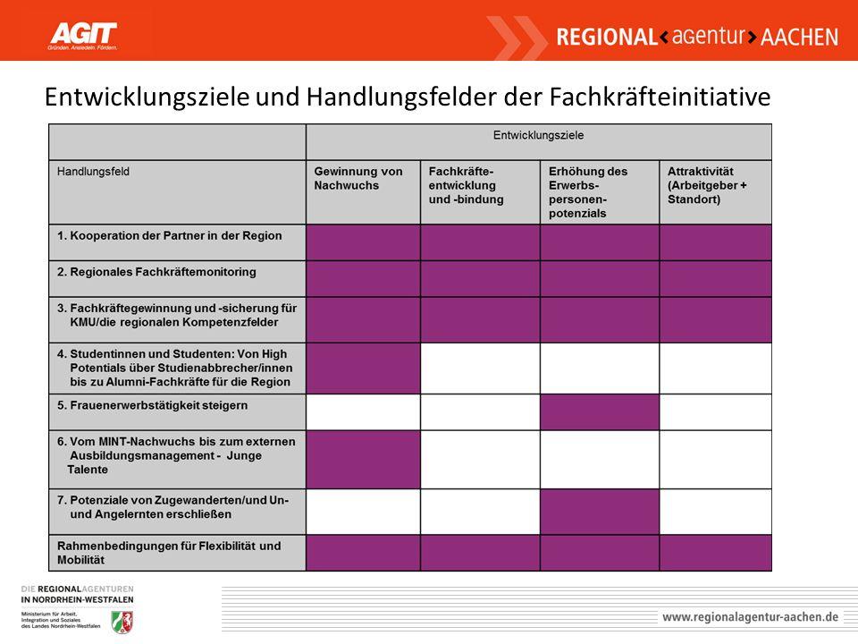 Entwicklungsziele und Handlungsfelder der Fachkräfteinitiative