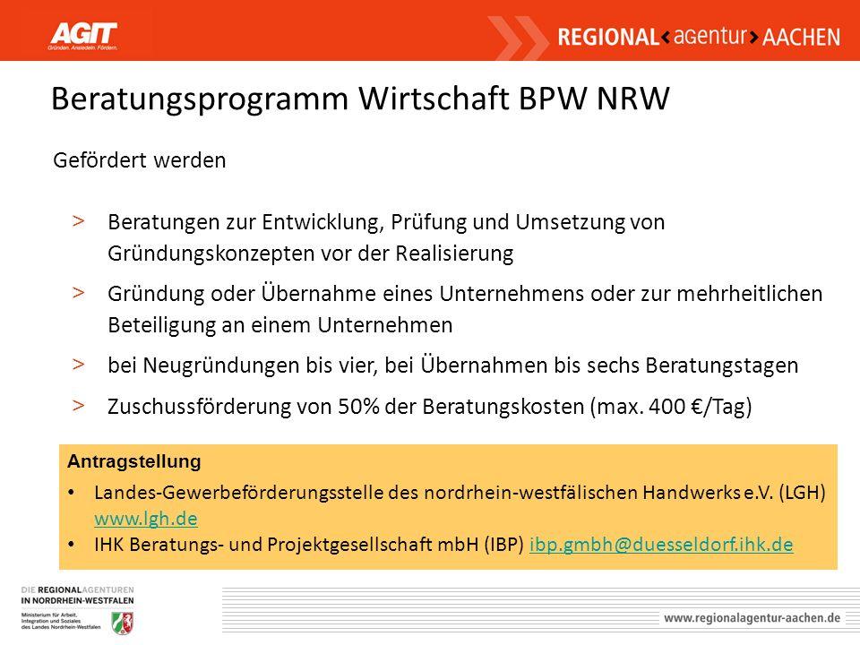 Beratungsprogramm Wirtschaft BPW NRW