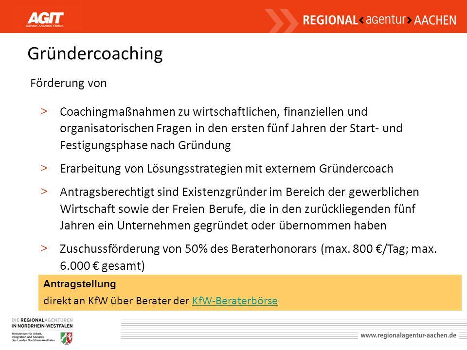 Gründercoaching Förderung von