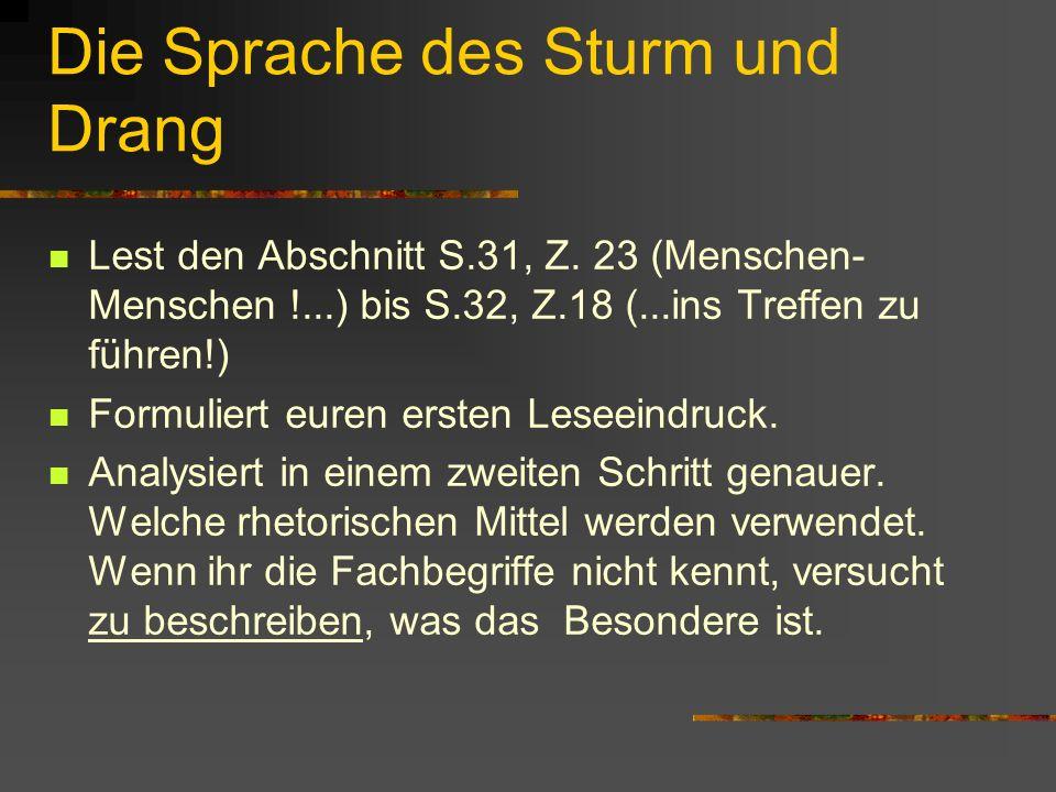 Die Sprache des Sturm und Drang