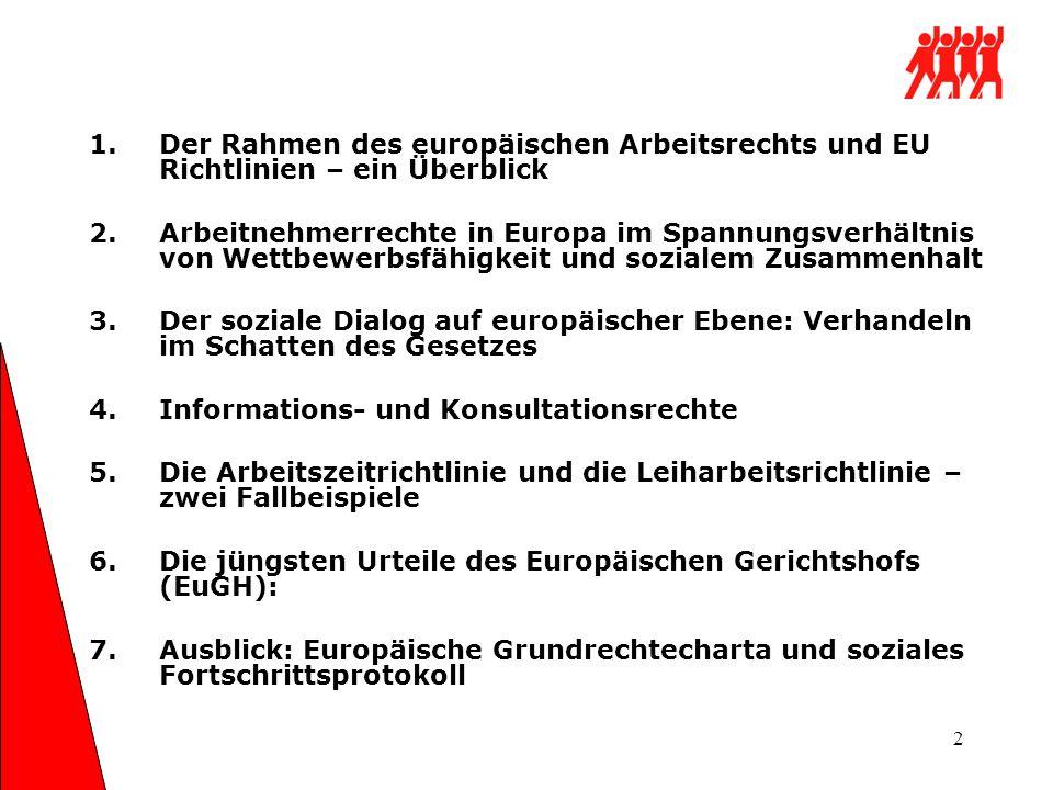 Der Rahmen des europäischen Arbeitsrechts und EU Richtlinien – ein Überblick