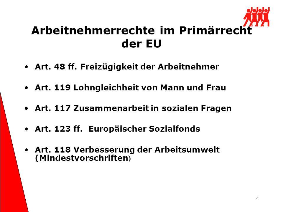 Arbeitnehmerrechte im Primärrecht der EU