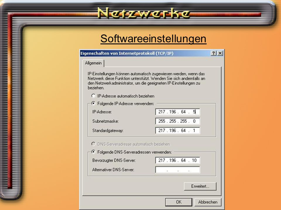 Softwareeinstellungen