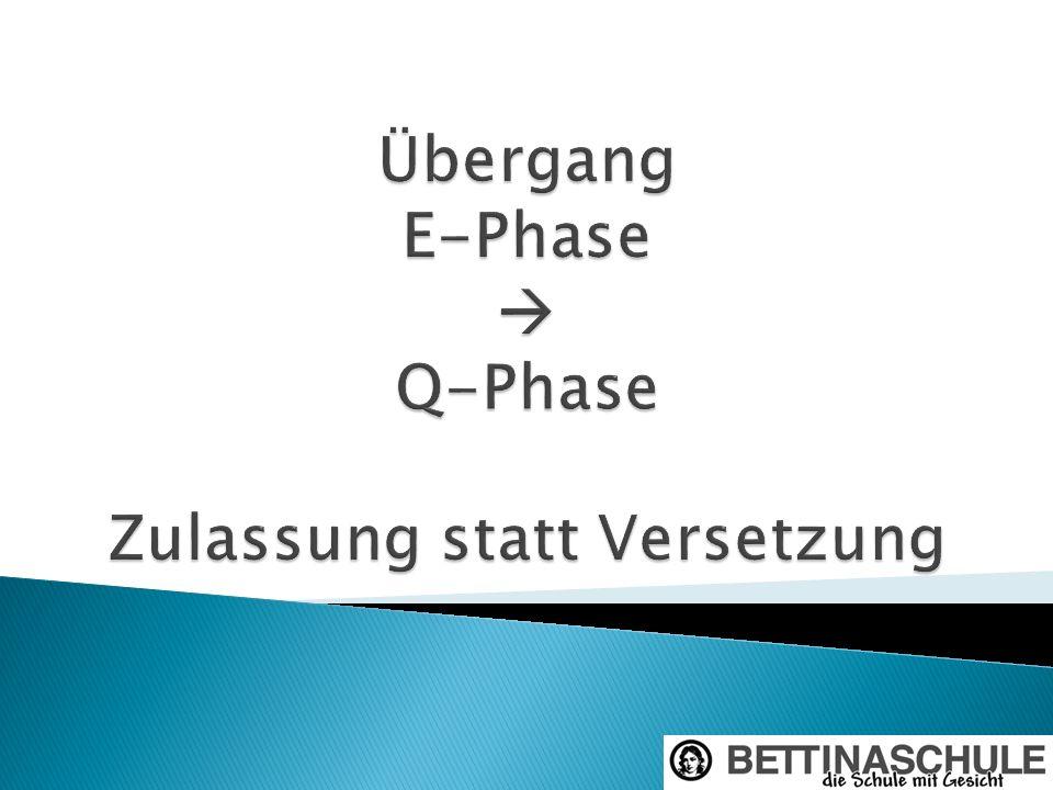 Übergang E-Phase  Q-Phase Zulassung statt Versetzung