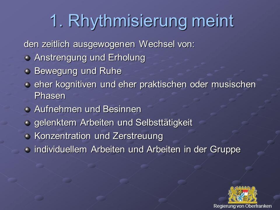 1. Rhythmisierung meint den zeitlich ausgewogenen Wechsel von: