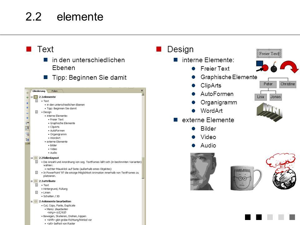 MNI 2.2 elemente Text Design in den unterschiedlichen Ebenen