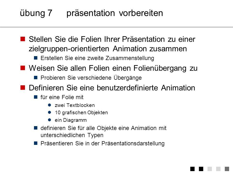 übung 7 präsentation vorbereiten