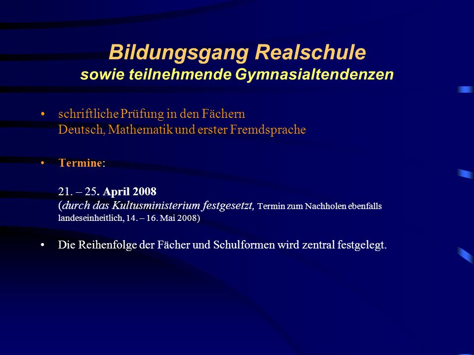 Bildungsgang Realschule sowie teilnehmende Gymnasialtendenzen