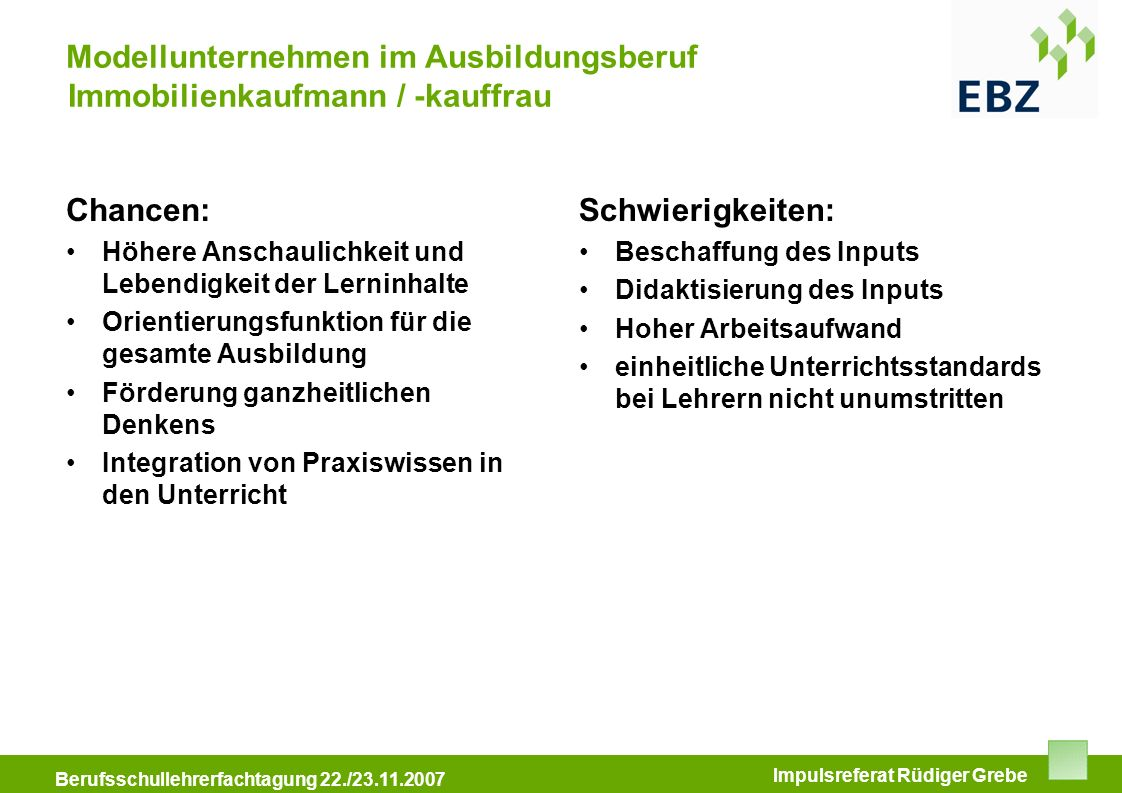 Modellunternehmen im Ausbildungsberuf Immobilienkaufmann / -kauffrau