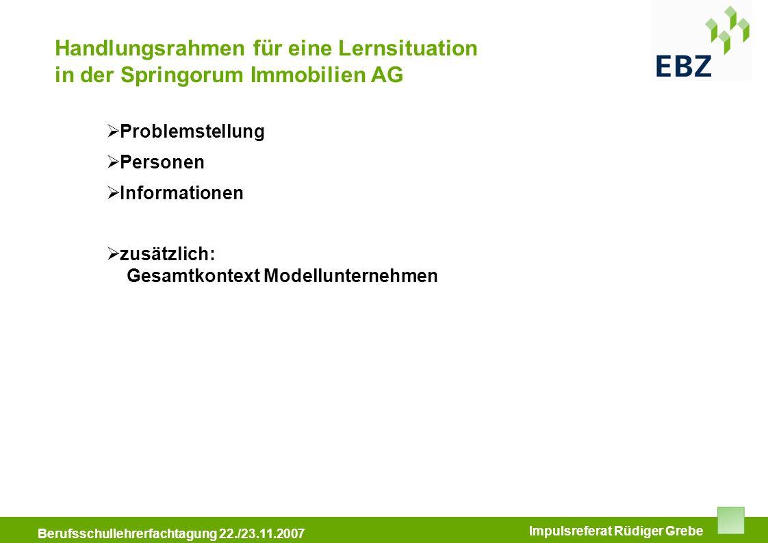 Handlungsrahmen für eine Lernsituation in der Springorum Immobilien AG