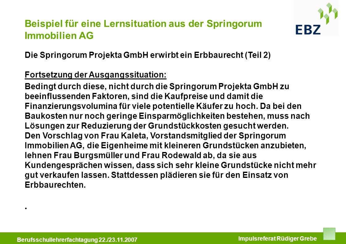 Beispiel für eine Lernsituation aus der Springorum Immobilien AG