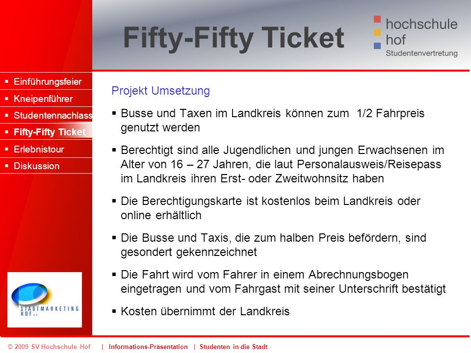 Fifty-Fifty Ticket Projekt Umsetzung