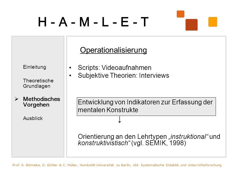 H - A - M - L - E - T Operationalisierung Scripts: Videoaufnahmen