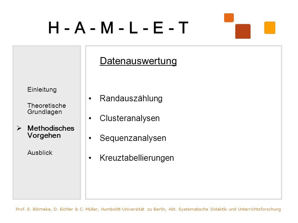 H - A - M - L - E - T Randauszählung Clusteranalysen Sequenzanalysen