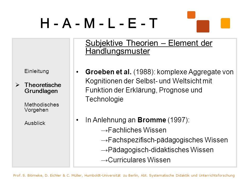 H - A - M - L - E - T Einleitung. Theoretische Grundlagen. Methodisches Vorgehen. Ausblick. Subjektive Theorien – Element der Handlungsmuster.