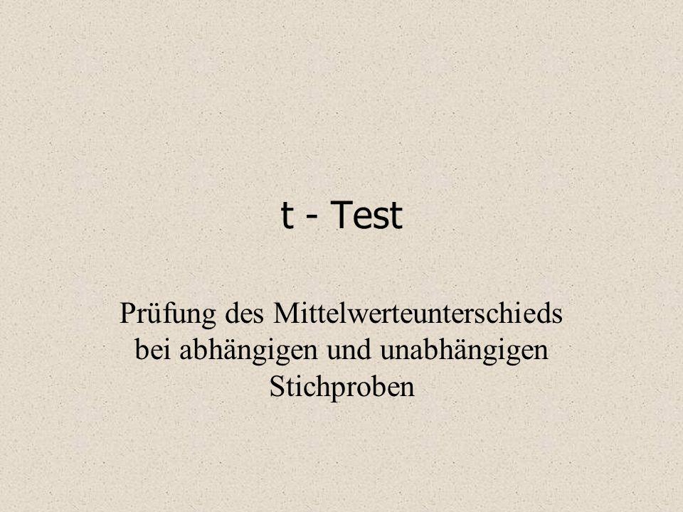 t - Test Prüfung des Mittelwerteunterschieds bei abhängigen und unabhängigen Stichproben