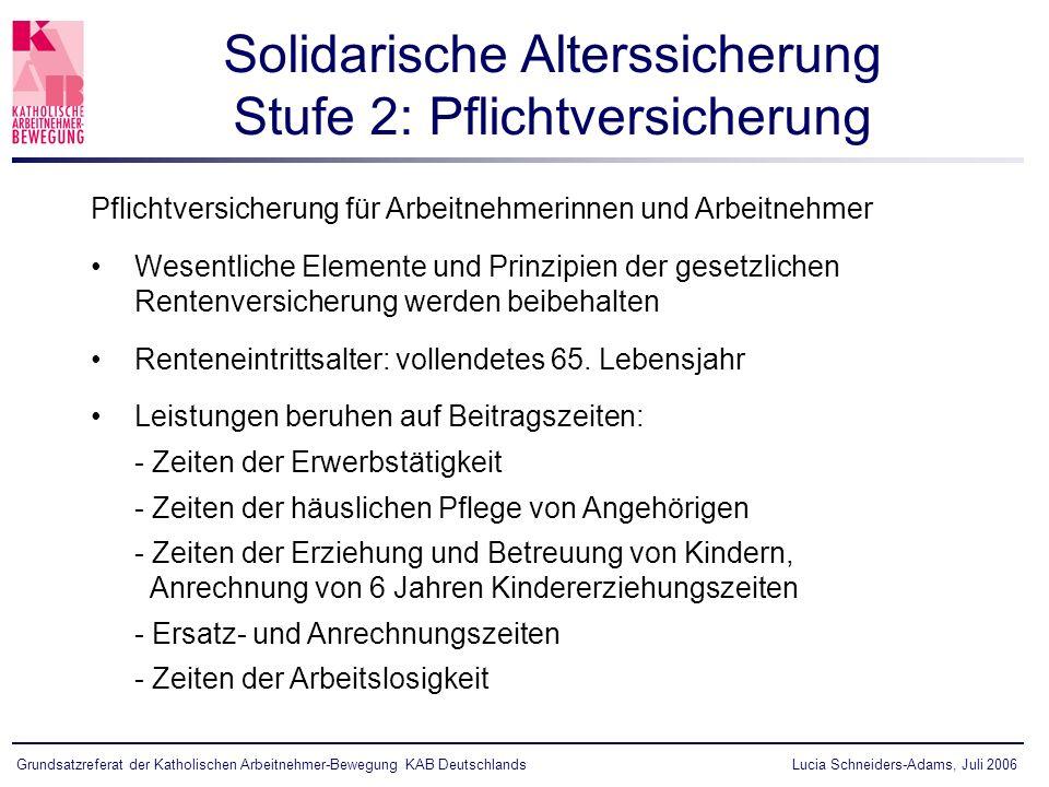 Solidarische Alterssicherung Stufe 2: Pflichtversicherung