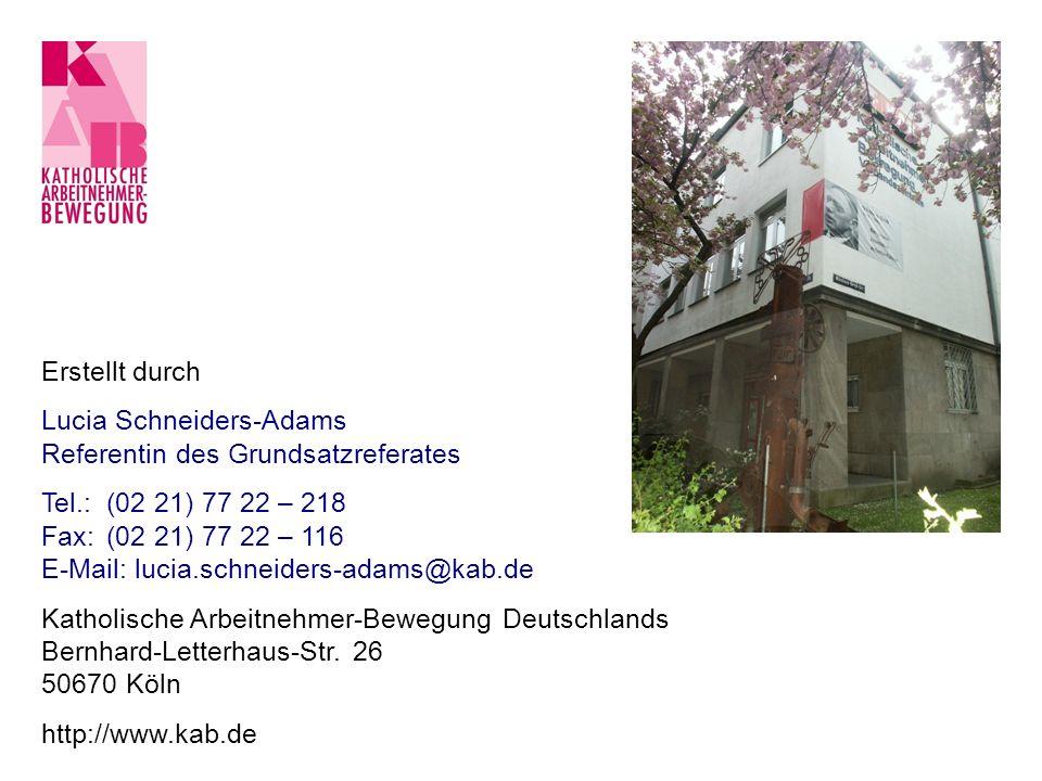 Erstellt durchLucia Schneiders-Adams. Referentin des Grundsatzreferates. Tel.: (02 21) 77 22 – 218.
