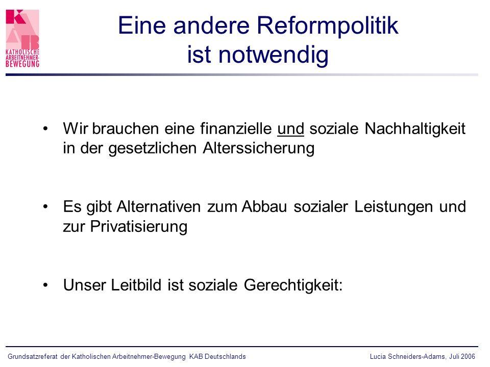 Eine andere Reformpolitik