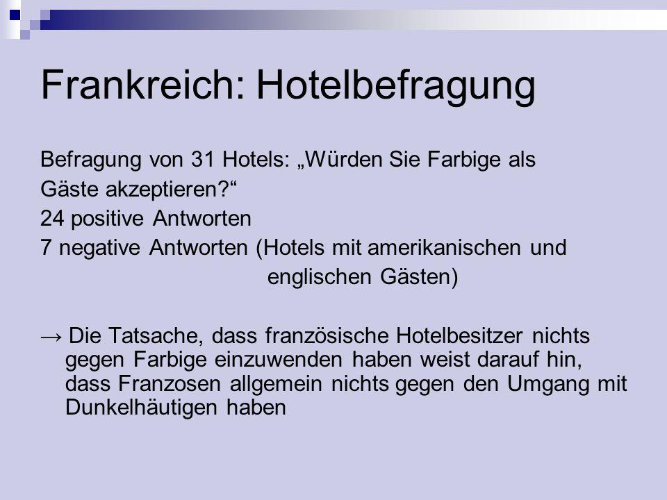 Frankreich: Hotelbefragung