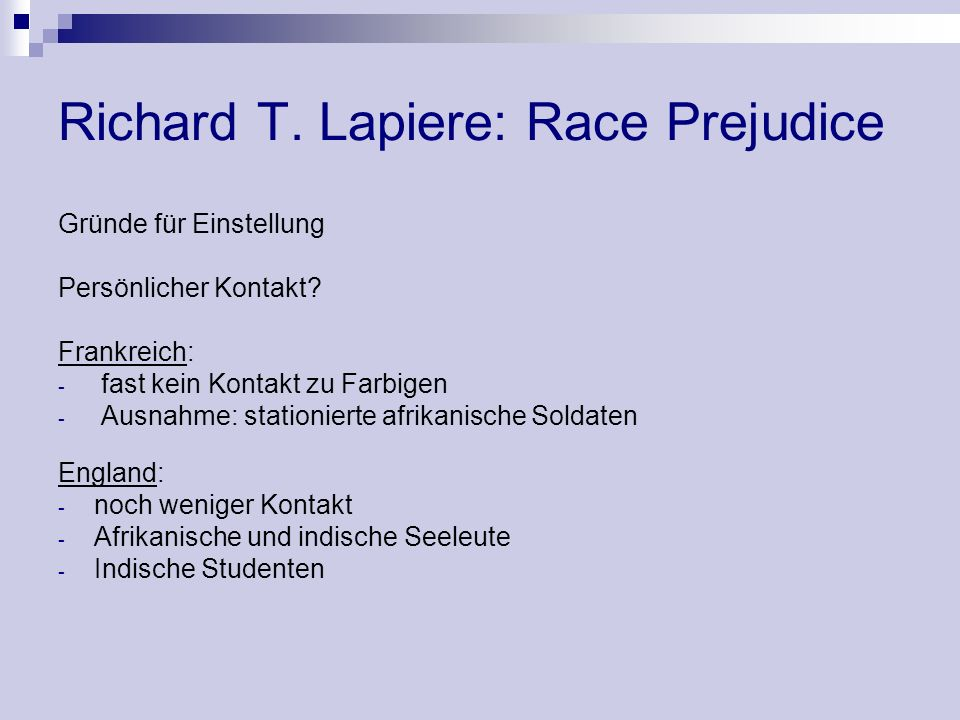 Richard T. Lapiere: Race Prejudice