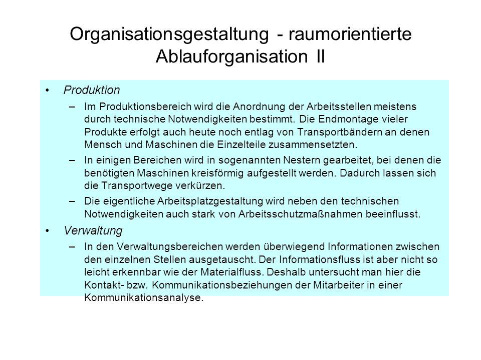 Organisationsgestaltung - raumorientierte Ablauforganisation II