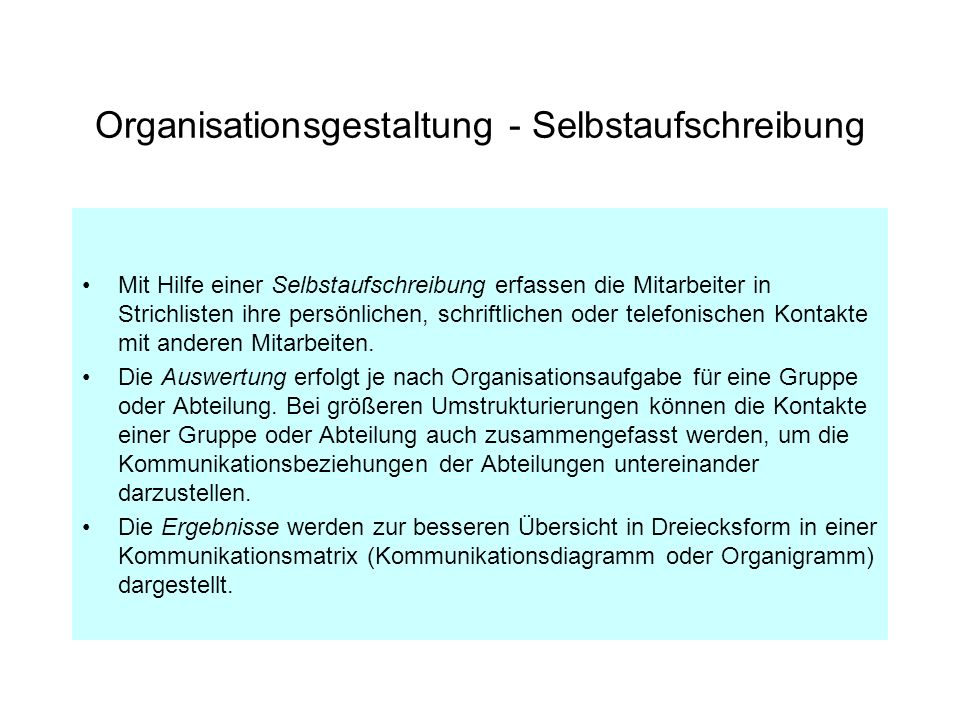 Organisationsgestaltung - Selbstaufschreibung
